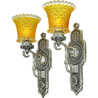 Pair of Vintage Edwardian Wall Sconces Circa 1920s Lights Fixtures (ANT-763)