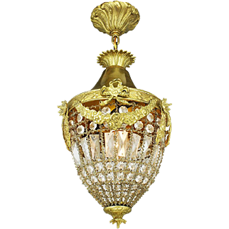 French Entry Crystal Pendant Vintage Basket Style Hall Light Fixture (ANT-765)