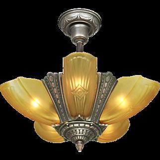 Art Deco Slip Shade Chandelier Vintage 5 Light Ceiling Fixture Puritan (ANT-766)