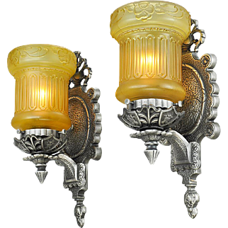 Edwardian Pair Wall Sconces Vintage Light Fixtures with Amber Shades (ANT-767)