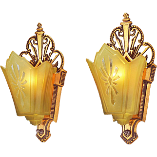 Art Deco 1930s Wall Sconces Slip Shade Red Bronze Lights Fixtures (ANT-769)
