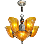 Art Deco Original 6 Light Slip Shade Chandelier by Lincoln Lighting (ANT-773)