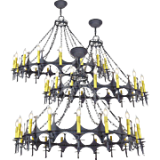 """Big 48"""" Diam Iron Chandelier Gothic 18 Light Candle Ceiling Fixture (ANT-775)"""