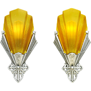 Art Deco Vintage Slip Shade Sconces Pair 1930s Wall Lights by Virden (ANT-783)