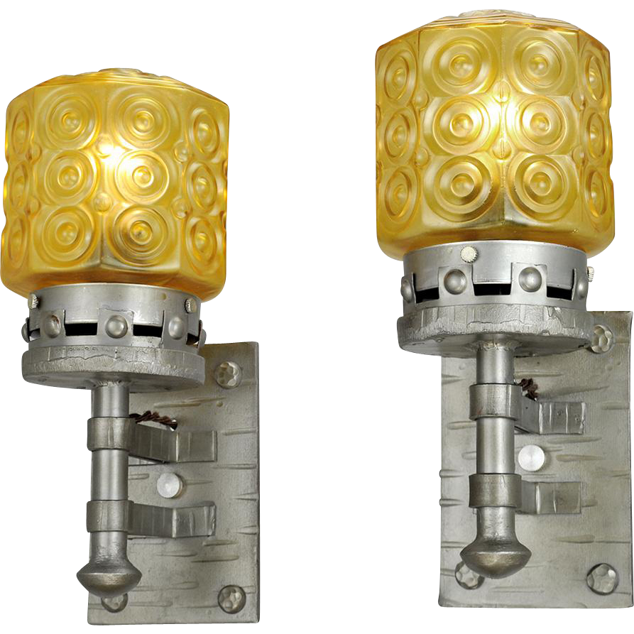 Gothic Wall Sconces: Gothic Style Lights Vintage Wall Sconces Circa 1920s Pair