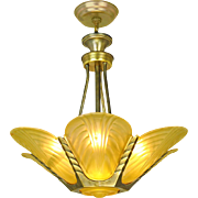 French Deco Slip Shade Chandelier Streamline Ceiling Light Fixture (ANT-791)