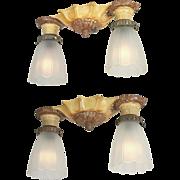 Pair of Flush Mount Ceiling Lights Vintage 1920s Lighting Fixtures (ANT-798)