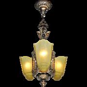 Art Deco Chandelier 3 Slip Shade 1930s Ceiling Light by Moe Bridges (ANT-801)
