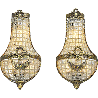 Vintage French Wall Sconces Basket Style Crystal Lights - Pair (ANT-808)