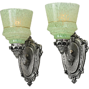 Vintage Wall Sconces Pair 1920s Lights with End of Day Glass Shades (ANT-809)