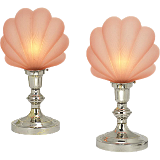 Vintage Table Lamps Pair Odeon Theatre Clamshell Movie Theater Lights (ANT-810)