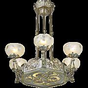 Art Nouveau or Deco French Chandelier 1920s Ceiling Light Fixture (ANT-814)