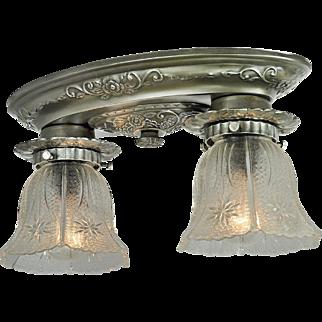 Edwardian Style Flush Mount Close Ceiling Fixture Vintage 2-Light (ANT-815)