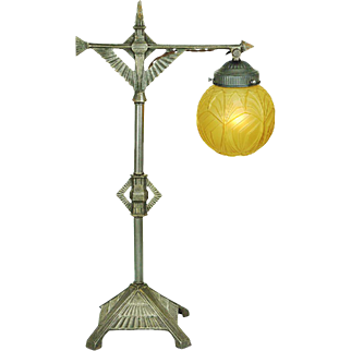 Circa 1930 Art Deco Table Lamp Vintage Early Modernist Bridge Light (ANT-816)