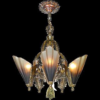 Art Deco Slip Shade Bronze Chandelier Vintage Soleure Ceiling Fixture (ANT-819)