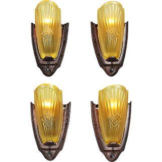 Set of 4 Art Deco Wall Sconces American Slip Shade Lights by Puritan (ANT-820)