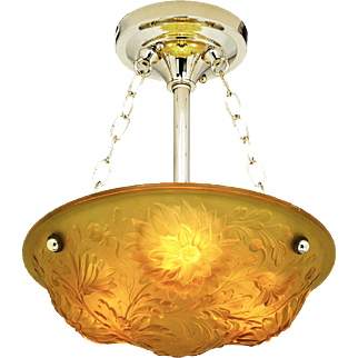 Art Nouveau Embossed Floral Bowl Chandelier French Ceiling Light (ANT-825)