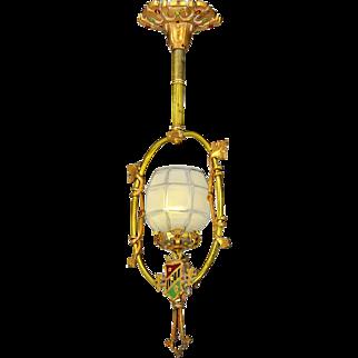 Vintage Pendant Entry Hall Light Polychrome Heraldic Ceiling Fixture (ANT-826)