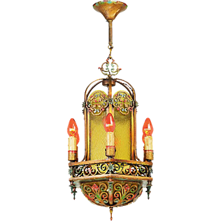 1920s Chandelier Polychrome Candle Type Ceiling Fixture or Hall Light (ANT-829)