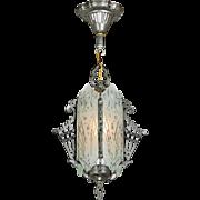1930s Art Deco Hall Light Cut Glass Vintage Pendant Ceiling Fixture (ANT-830)