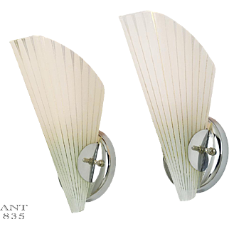 Mid-Century Modernist Pair of Sconces Vintage Slip Shade Wall Lights (ANT-835)