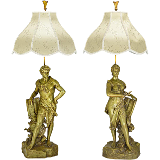 Victorian Table Lamps Pair of French Male and Female Figural Lights (ANT-839)