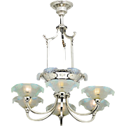French Art Deco Chandelier 1920s Icicle 6 Arm Ceiling Light (ANT-842_CL96-101)