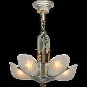 Art Deco Streamline Chandelier 5 Light Slip Shade Lighting by Markel (ANT-843)