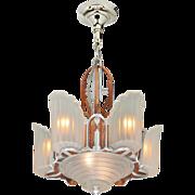 Art Deco Streamline Slip Shade Chandelier Mid West Mnf 1930s 6-Shade (ANT-844)