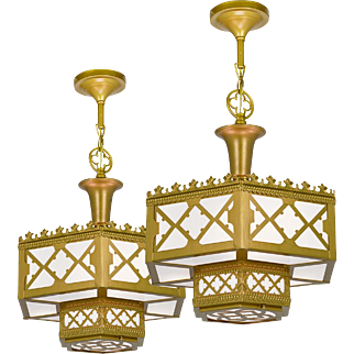 Pair of Vintage Chandeliers Gothic or Arts and Crafts Ceiling Lights (ANT-849)