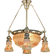 Edwardian Chandelier Puffy Style Ceiling Bowl Ca. 1900s Light Fixture (ANT-854)