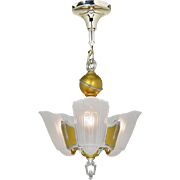 Art Deco 3 Light Chandelier Vintage 1930s Slip Shade Ceiling Fixture (ANT-856)