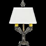 Vintage Art Deco Table Lamp 1920s 2-Light Winged Design Cast Iron (ANT-859)