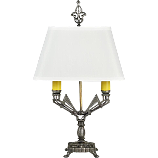 Vintage Art Deco Table Lamp 1920s 2-Light Winged Design Cast Iron (ANT-859)