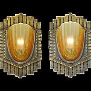 Art Deco Pair Large Bronze Sconces French Slip Shade Vintage Lights (ANT-861)
