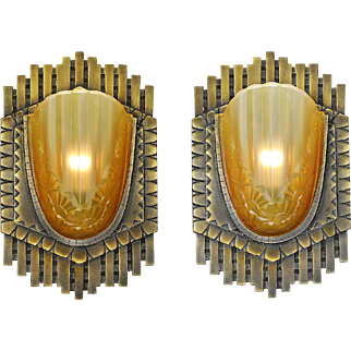 Art Deco Pair Large Bronze Sconces French Slip Shade Vintage Lights (ANT-861)