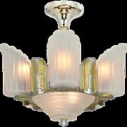 Vintage Streamline Deco Chandelier Slip Shade Ceiling Light Mid West (ANT-863)