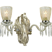 Pair Vintage Mythical Griffin or Dragon Creature Double Wall Sconces (ANT-864)