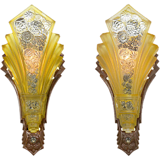 Art Deco Wall Sconces Pair of Vintage Slip Shade Martele Lights 1930s (ANT-865)
