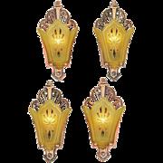 Set of 4 Vintage Art Deco Sconces Original Red Bronze Finish Lights (ANT-869)