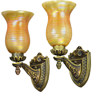 Pair Wall Sconces Vintage Edwardian Art Glass Lights Rewired Fixtures (ANT-871)