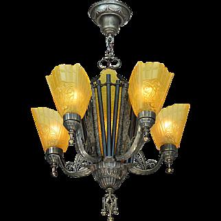 Vintage Deco Chandelier 1930s 5-Arm 6-Light Hanging Ceiling Fixture (ANT-872)