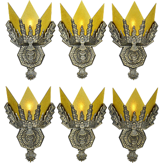 Art Deco Pair of Wall Sconces Circa 1930s Vintage Lighting Fixtures (ANT-873)