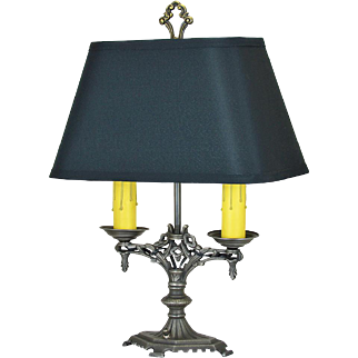 1920s Art Deco Table Lamp Vintage 2-Socket Light with Cast Iron Frame (ANT-874)