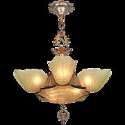 Vintage 1930s Chandelier Art Deco Slip Shade Ceiling Light by Markel (ANT-876)