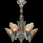 Vintage Art Deco 5-Light Chandelier Ca. 1930 Ceiling Fixture Mid West (ANT-878)