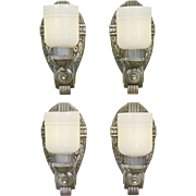 Set of Four Vintage Deco Wall Sconces American Design 1920s Lights (ANT-880)