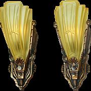 Art Deco Pair of Vintage Slip Shade Sconces by Globe Lighting Fixture (ANT-882)