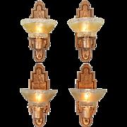Set of 4 Original Red Bronze Finish Sconces Circa 1910s Wall Lights (ANT-885)