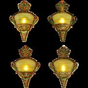 Art Deco Slip Shade Sconces Set of 4 Original Polychrome Wall Lights (ANT-886)